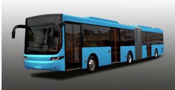 福岡都心に導入される連節バスのイメージ図