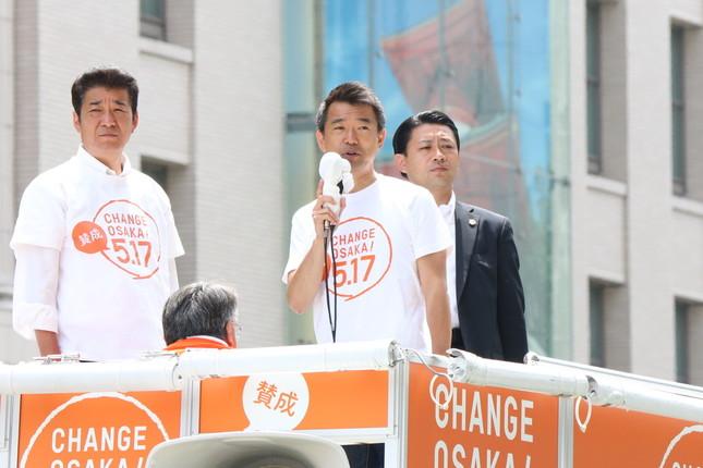 橋下氏の後継市長は誰になるのか(左側は大阪維新の会の松井一郎幹事長(大阪府知事))