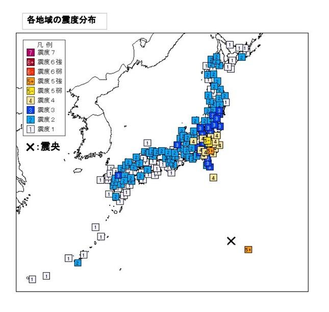 全47都道府県で震度1以上の揺れが観測された(図は気象庁の発表資料から)