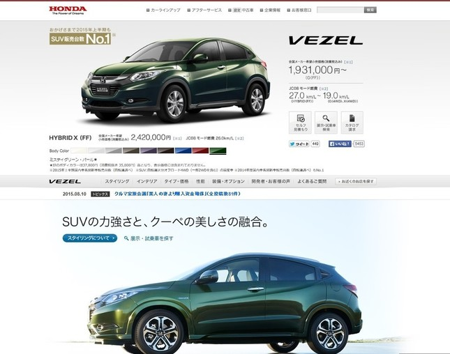 各社の本格参入が相次ぐ小型SUV。写真はホンダのホームページから