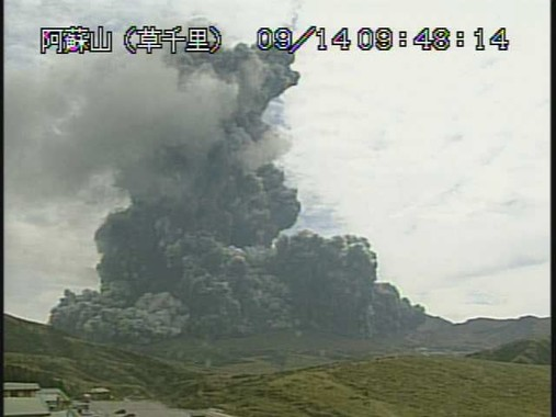 噴火時の阿蘇山の様子(気象庁サイトから)