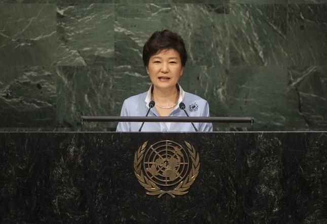 朴槿恵大統領は安倍晋三首相の前でも笑顔を見せたという(UN Photo/Cia Pak)