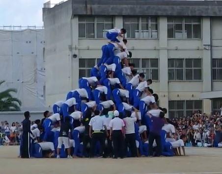 最上段の生徒が立ち上がろうとしたそのとき、一気に崩れた(画像はYouTube動画のスクリーンショット)