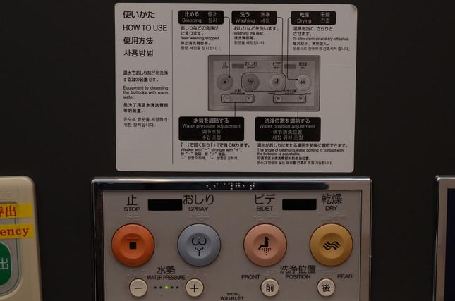 複数のボタンの使い方を4か国語で説明