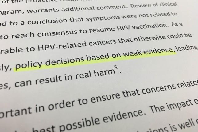 声明では「乏しい証拠に基づく政策決定」だと日本の対応を非難している