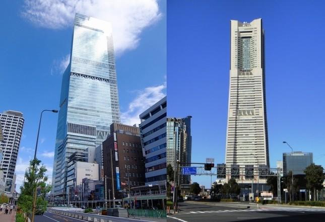「あべのハルカス」(左)に抜かれるまで日本一だった「横浜ランドマークタワー」(右)も三菱地所が開発した
