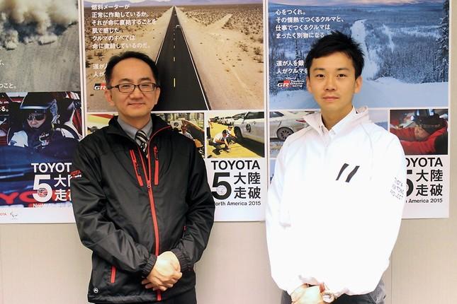 5大陸走破を技術面で支える杉田憲彦さん(右)とTGRブランディング担当の柳澤俊介さん(左)