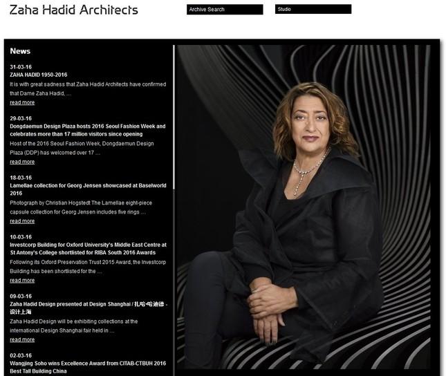訃報を発表したザハ氏の建築事務所ホームページ