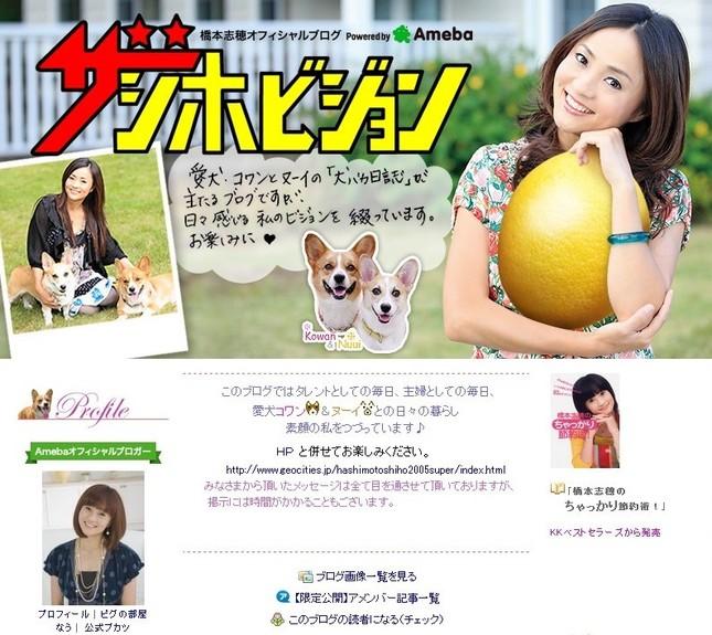 画像は橋本志穂さん公式ブログのスクリーンショット