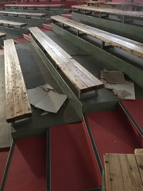 地震で天井の一部が落下した劇場(写真提供・阿蘇猿まわし劇場)