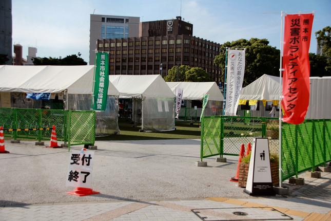 熊本市内に設けられた災害ボランティアセンター