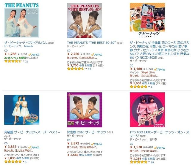 伊藤ユミさんが亡くなり、「ザ・ピーナッツ」のCD・レコードにも注目が集まる(画像はアマゾンのスクリーンショット)