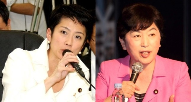 蓮舫氏(左)は白、福島瑞穂氏(右)はピンクのスーツが定番だ