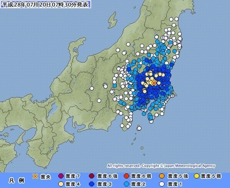 最大震度4の地震が4日間に3回も起きている(図は気象庁ウェブサイトから)