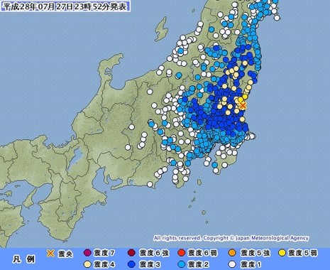 7月27日深夜の地震は「3.11」の余震だった(図は気象庁ウェブサイトから)