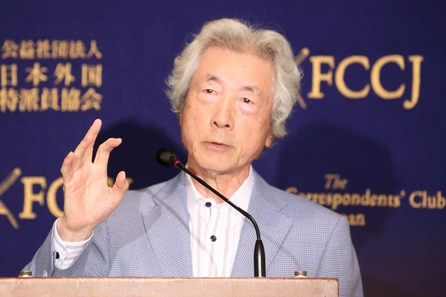 記者会見する小泉純一郎元首相