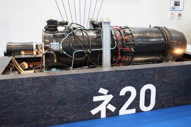 IHIが展示した「ネ20」。日本最古のジェットエンジンだ
