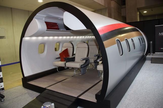MRJの客室部分の実物大模型。実機は米国で試験飛行が予定されている