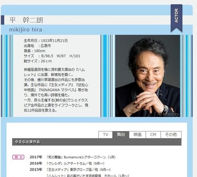 平幹二朗さん(画像は所属事務所の公式プロフィールのスクリーンショット)