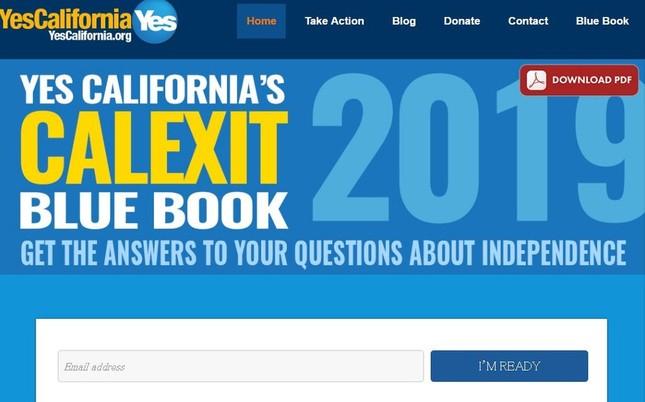 「Calexit」が広がるきっかけになった「Yes!カリフォルニア独立運動」のウェブサイト。独立に向けた住民投票を目指している