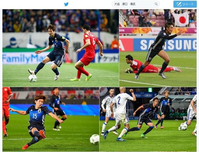 サウジアラビア代表に勝利したサッカー日本代表(画像はツイッターのスクリーンショット)