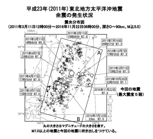 気象庁では今回の地震を東北地方太平洋沖地震(東日本大震災)の余震だとみている(図は気象庁の発表資料より)