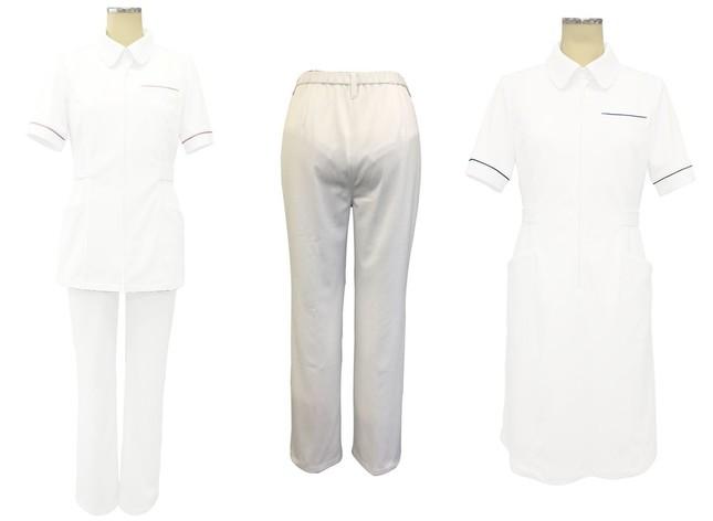「裏地付透けない白衣」(左から)ツーピースタイプ、パンツのみ、ワンピースタイプ(提供:大真)