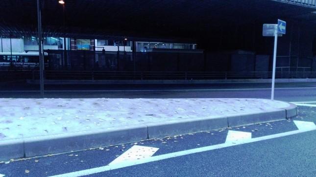 石が撤去された後の「交通島」(2016年12月14日撮影)