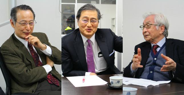 座談会に集まったDAA(アンチエイジング医師団)の3人(左から)大慈弥氏、山田氏、塩谷氏