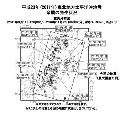11月22日の地震も東北地方太平洋沖地震(東日本大震災)の余震だとみている(図は気象庁の発表資料より)