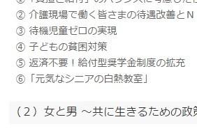 上西氏は自らの政策として「返済不要!給付型奨学金制度の拡充」をウェブサイトに掲げていた。指摘を受けてほどなく削除された