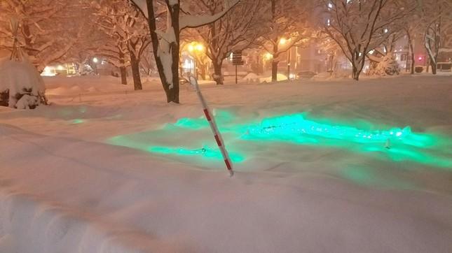 にくきうさん(@shiftsphere)のツイートより。すっかり埋もれてしまった大通公園のイルミネーションが、雪の下で光っている