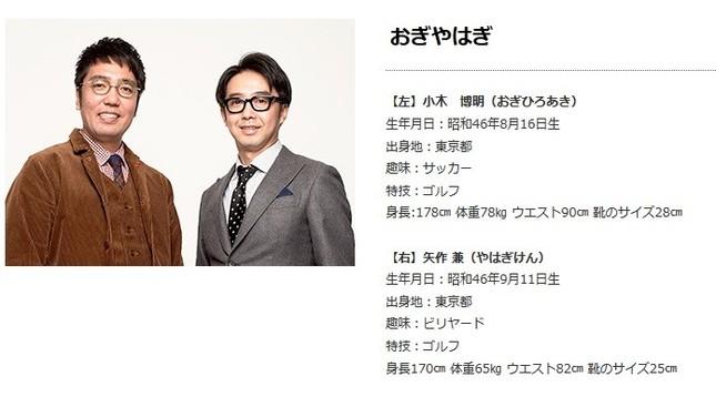 「おぎやはぎ」の矢作兼さん(右)と小木博明さん(画像は所属事務所「プロダクション人力」公式サイトのスクリーンショット)