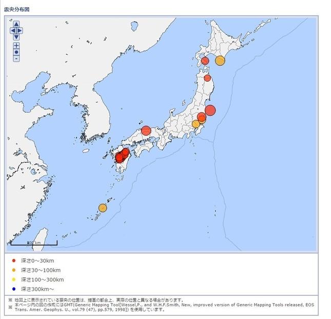 2016年には震度5弱以上の地震が33回観測された(図は気象庁のデータベースから)