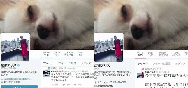 左は広瀬アリスさんの公式ツイッターアカウント、右はなりすましアカウント