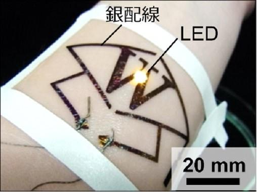 絆創膏のような「皮膚貼付型エレクトロニクス」(早稲田大学の発表資料より)