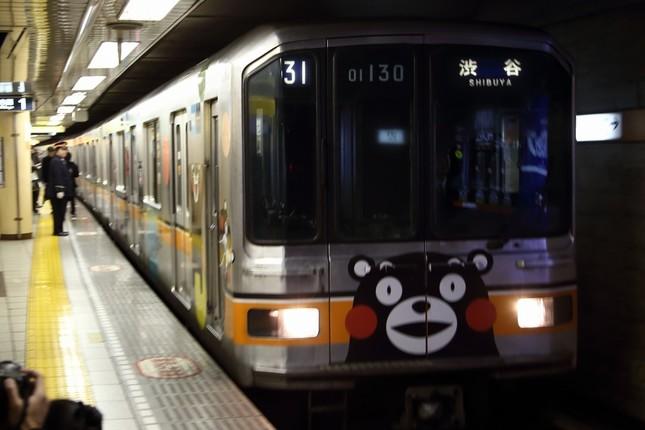 東京メトロ銀座線の「01系」の1編成が、くまモンのラッピング電車として活躍中だ