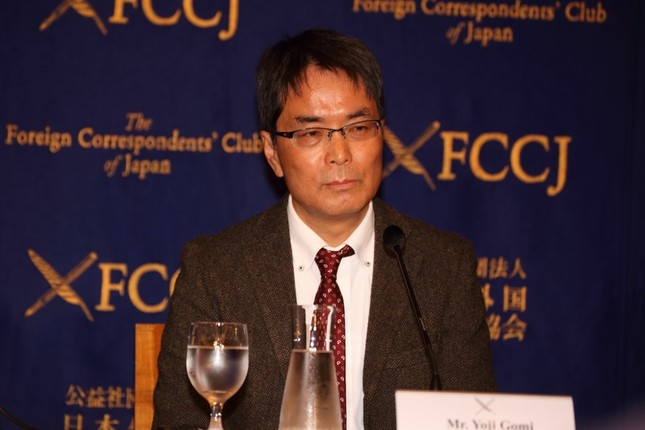 日本外国特派員協会で会見した東京新聞の五味洋治編集委員