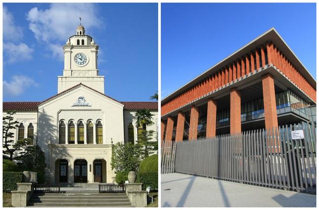 関学大上ヶ原キャンパスの時計台(左)と同志社大今出川キャンパスの良心館(Wikimedia Commonsより)