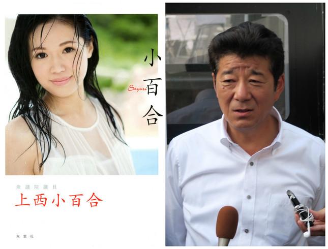 左は上西氏の写真集「小百合」(双葉社)、右は松井氏(16年6月撮影)