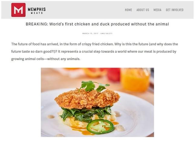 人口培養鶏肉を利用したフライドチキン(画像はメンフィス・ミーツ社公式ブログ)