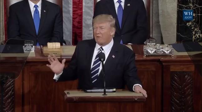 トランプ大統領の演説に対する評価は意外に高かった(写真はホワイトハウスの動画から)