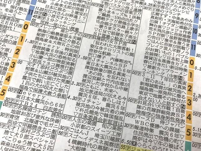 2017年3月11日のテレビ欄(朝日新聞朝刊)