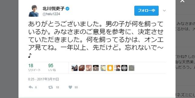 質問の連投に批判の声(写真は北川さんのツイッターのスクリーンショット)