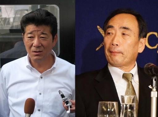 真相はどっちだ(松井氏の写真は16年6月撮影、籠池氏の写真は17年3月撮影)