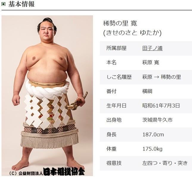 2017年3月場所で逆転優勝した稀勢の里(画像は日本相撲協会HPから)