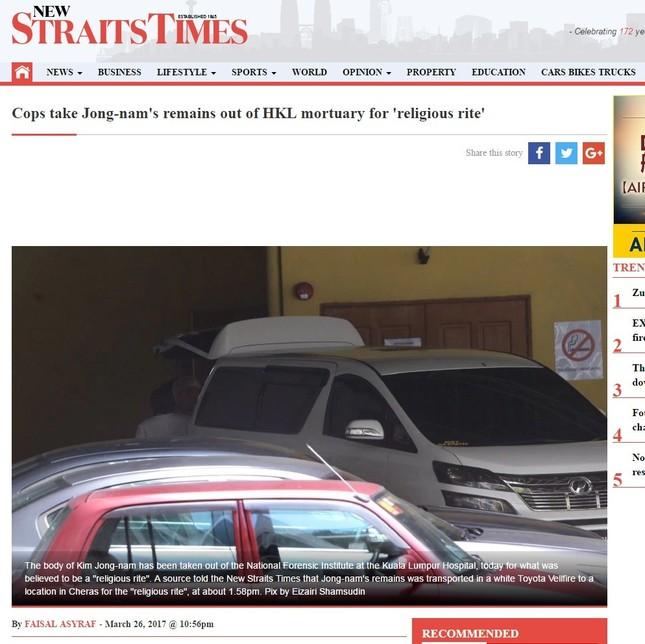 現地紙のニュー・ストレートツ・タイムスはミニバンが病院から出ていく様子の写真をウェブサイトに掲載した。金正男氏の遺体は「宗教的儀式」のために移送されたと報じた