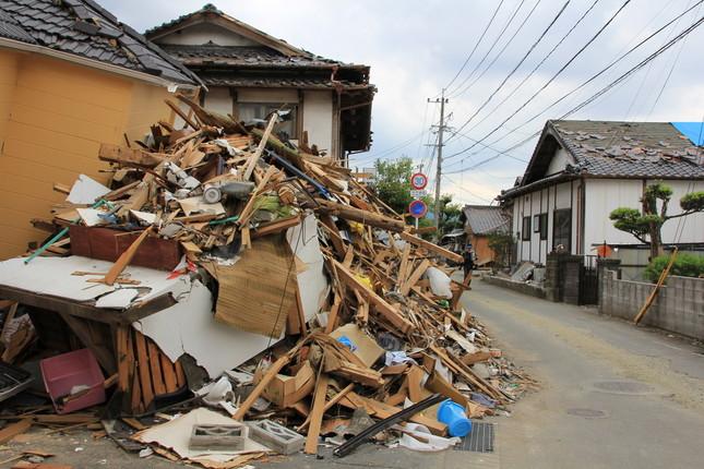 熊本地震で甚大な被害を受けた益城町(2016年5月撮影)