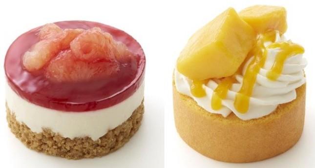 「やさしい豆乳スイーツ レアチーズ風 グレープフルーツ&ブラッドオレンジソース」(左)と「やさしい豆乳スイーツ マンゴーロールケーキ」