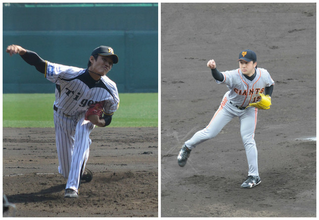 (左)藤浪投手(Cake6さん撮影)/澤村投手(STB-1さん撮影)/ともにWikimediaCommonsより